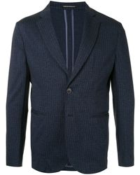 Emporio Armani シェブロン テーラードジャケット - ブルー