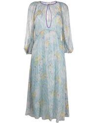 Forte Forte Шифоновое Платье Миди С Цветочным Принтом - Синий