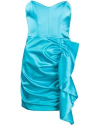 P.A.R.O.S.H. シャーリング ドレス - ブルー