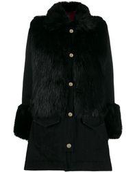 Pinko Пальто С Отделкой Из Искусственного Меха - Черный