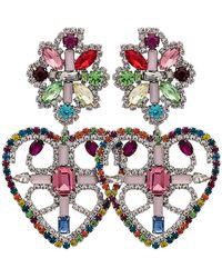 DANNIJO - Rainbow Camellias Heart Earrings - Lyst
