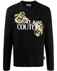 Versace Jeans Couture - Футболка С Длинными Рукавами И Логотипом - Lyst