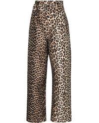 Ganni Leopard Print Trousers - Multicolour