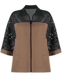 Emilio Pucci Laser Cut Detail Oversized Jacket - Brown