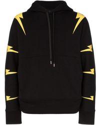 db3b5fa1b03 Saint Laurent Lightning Print Logo Hoodie in Black for Men - Lyst
