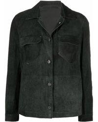 Salvatore Santoro Contrast-stitch Leather Shirt - Grey