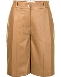 Loulou Studio Crinkled Leather Bermuda Shorts - Brown