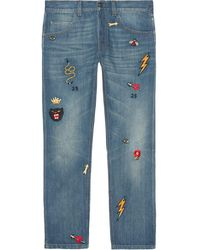 Gucci Tapered Denim Pant With Symbols - Blauw