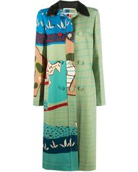 Ports 1961 Fitted Patterned Coat - Green