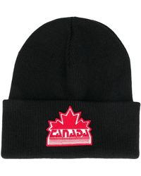 DSquared² Maple Leaf Patch Beanie - Black