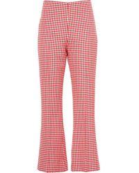 Miu Miu Pantalon à carreaux vichy - Rouge