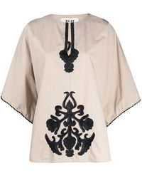 Bazar Deluxe Embroidered Short-sleeved Top - Multicolour