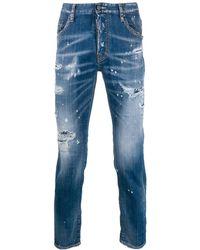 DSquared² Distressed Slim-fit Jeans - Blauw