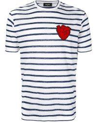 DSquared² - Camiseta a rayas con parche de corazón - Lyst