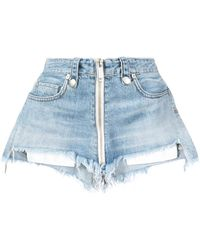 Unravel Project High Waisted Zipped Denim Shorts - Blue