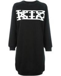 a2a683e85700 KTZ Roman Net Leather Piping Bodycon Dress in Black - Lyst