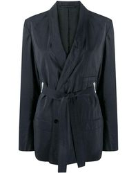 Lemaire Belted Double-breasted Blazer - Blue