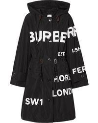 Burberry Parka con estampado Horseferry - Negro