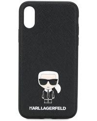 Karl Lagerfeld Bewerkt Telefoonhoesje - Zwart
