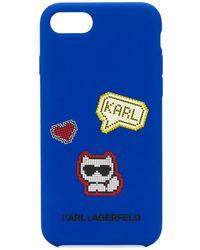 Karl Lagerfeld 'Pixel Cat' iPhone 8-Hülle - Blau