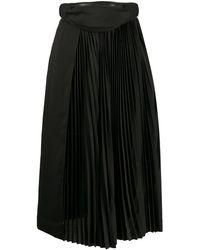 Juun.J ベルトバッグ プリーツスカート - ブラック