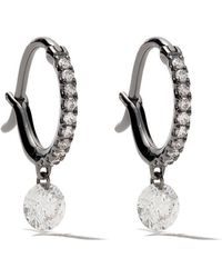 Raphaele Canot - 18kt Black Gold Set Free Diamond Mini Hoops - Lyst