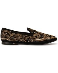 Dolce & Gabbana Bead Embroidered Slippers - Metallic