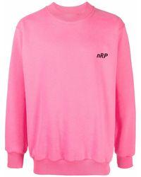Styland Logo-print Crew Neck Sweatshirt - Pink
