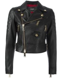 DSquared² - Quilted Detail Biker Jacket - Lyst