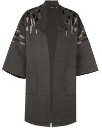 Natori Felted Oversized Coat - Gray