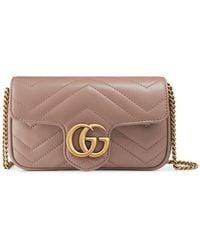 Gucci Sac super mini GG Marmont en cuir matelassé - Rose