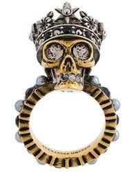 Alexander McQueen King Skull Ring - Metallic
