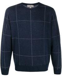 Canali Check Print Sweater - Blue