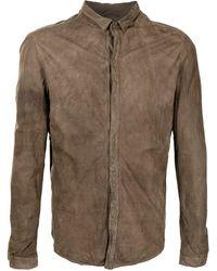 Giorgio Brato ダメージ レザーシャツジャケット - ブラウン