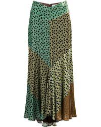 Silvia Tcherassi カラーブロック スカート - グリーン