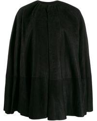 Rick Owens - Leather Cape Coat - Lyst