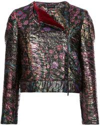 Natori Faux Fur Trim Jacquard Jacket - Black