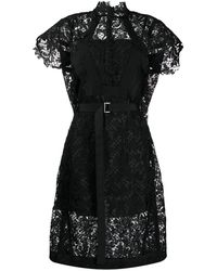 Sacai レースディテール ドレス - ブラック