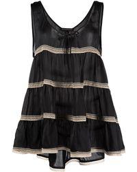 Kiki de Montparnasse レーストリム ティアード ドレス - ブラック