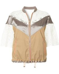 Kolor Lace Panel Zipped Jacket - Brown