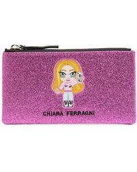 Chiara Ferragni グリッターロゴ クラッチバッグ - ピンク