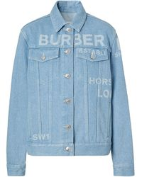 Burberry Horseferry Print Bleached Denim Jacket - Blue