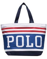 Polo Ralph Lauren ロゴストライプ ハンドバッグ - ブルー