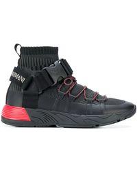 Emporio Armani Baskets à détail de boucle de sécurité et logo - Noir