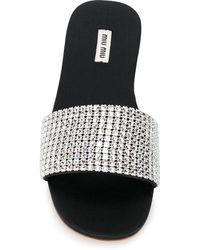 Miu Miu Crystal-embellished Slides - Metallic