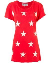 Wildfox Longline Star Print T-shirt - Red