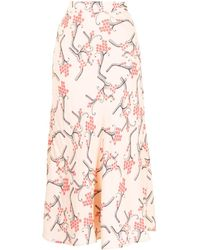 Paule Ka Blossom-print Flared Midi Skirt - Pink
