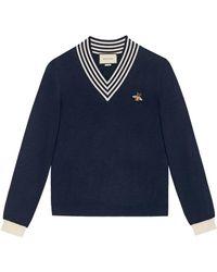 Gucci Pull en maille de laine avec col en V et abeille - Bleu