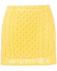 Laneus Cable-knit Mini Skirt - Yellow