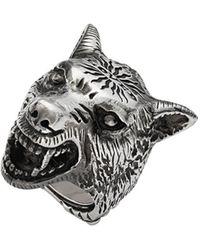 Gucci Anger Forest Ring Met Wolfskop - Metallic